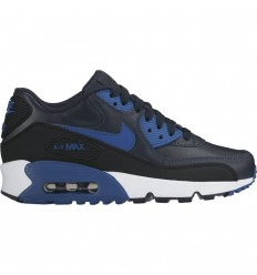 NIKE AIR MAX 90 LEATHER GS DARK OBSIDIAN/COURT BLUE-BLACK-WH